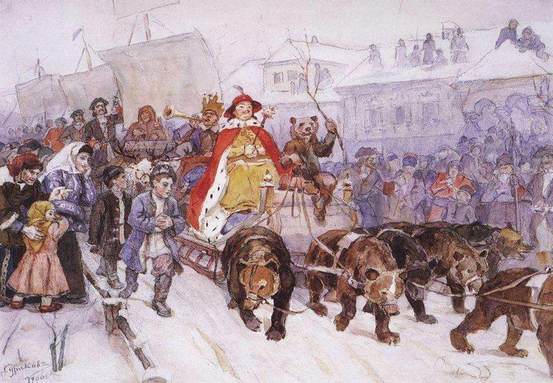 Василий Суриков — «Большой маскарад в 1722 году на улицах Москвы с участием Петра I и князя-кесаря И.Ф.Ромодановского», 1900 год