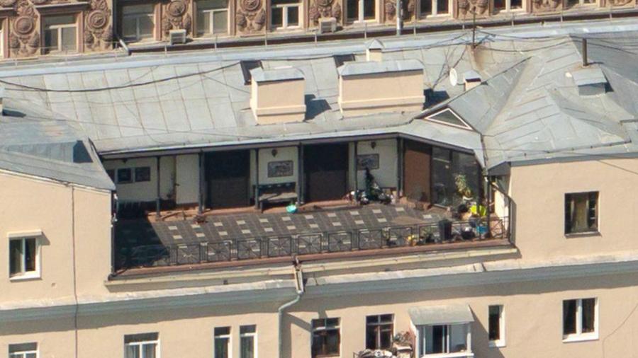 зона отдыха на крыше сталинки на Новинском бульваре